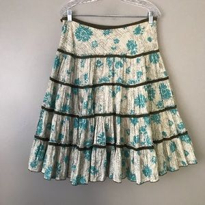 ☀️Anthro Fei floral stripe circle tiered skirt